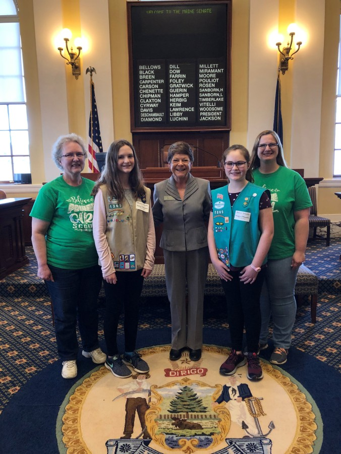 Moore with Calais Girl Scouts